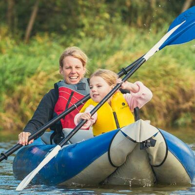 Family Fun in an Inflatable Kayak on the Grand River