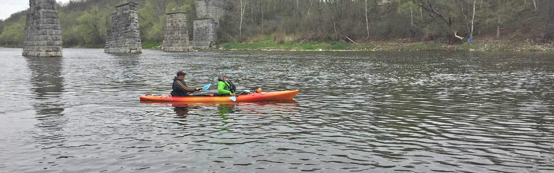 Grand River Rafting tandem kayaks are very stable for beginners