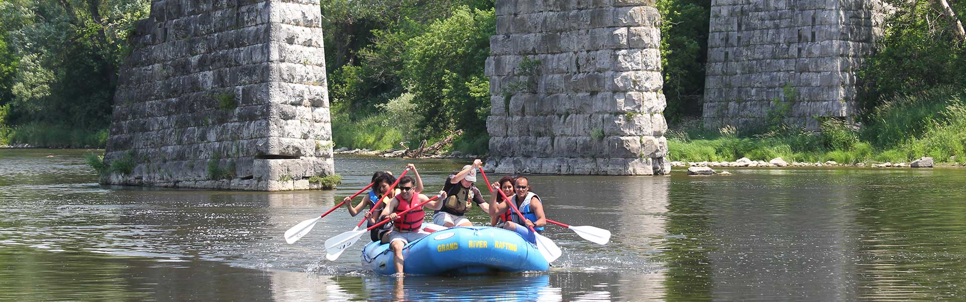Rafting through the Three Sisters on the Grand River