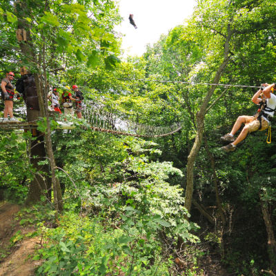 Zip line at Long Point Eco Adventures near Lake Erie Ontario
