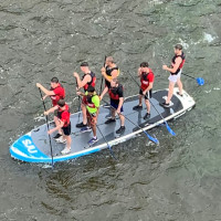 SUP Corporate trips on the Beast in the GRand River
